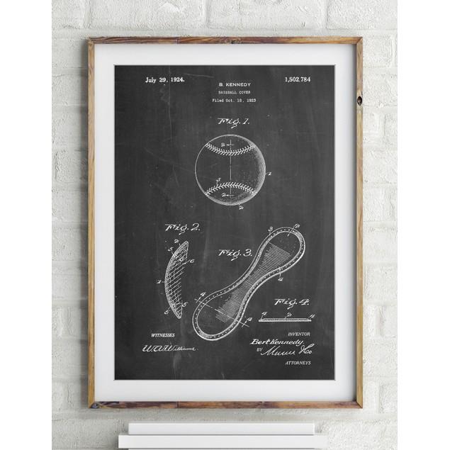 Vintage Baseball 1924 Patent Poster