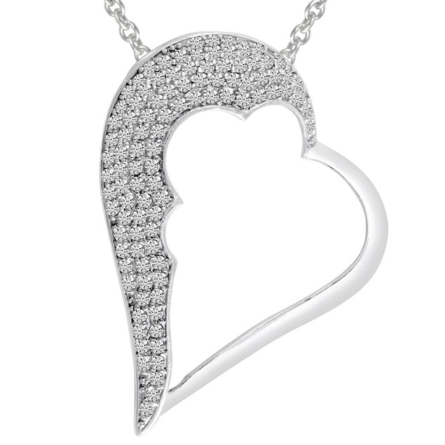 Sterling Silver One Sided Pave Simulated Diamond Heart Pendant