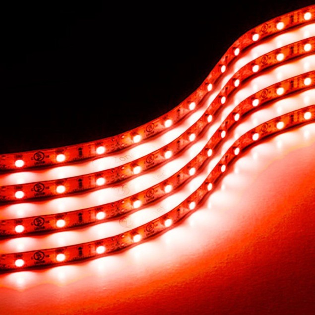 Zone Tech 4x Red 30cm 15 LED Decorative Flexible Waterproof Lighting Strips