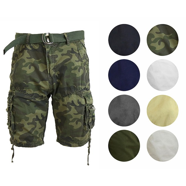 Men's Galaxy By Harvic Distressed Cargo Utility Shorts W/ Belt
