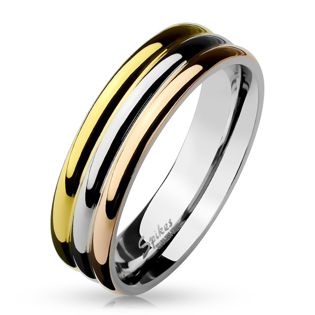 Three Tone Triple Dome Stainless Steel Ring
