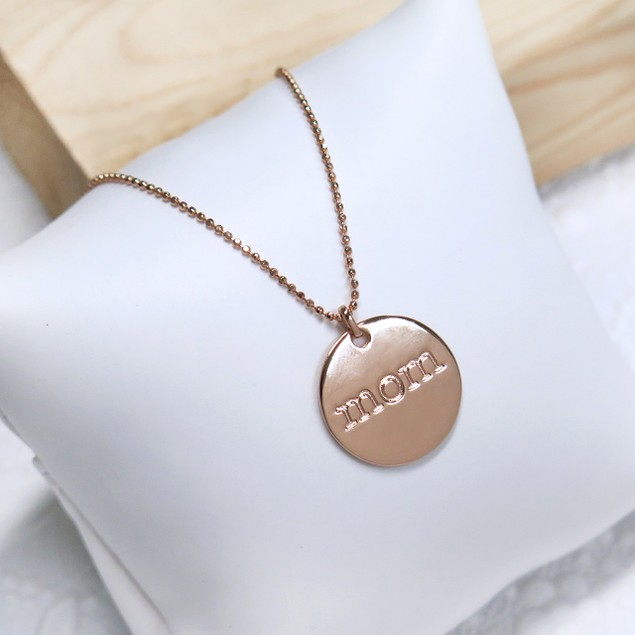 Rose Gold Plated Mom Disc Pendant Necklace
