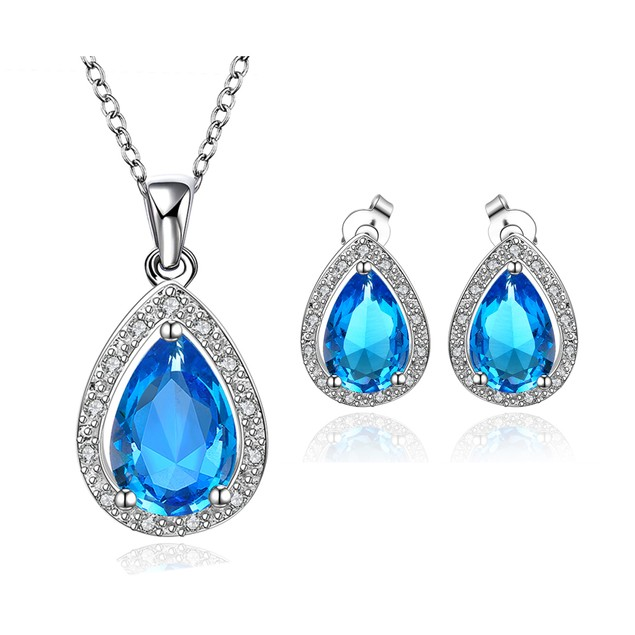 Water Drop Necklace and Earring Imitation Sapphire Austrian Crystal Set