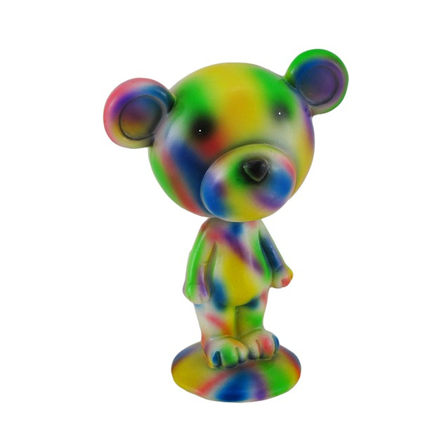 Colorful Tie Dye Bobble Head Bear Statue Statues