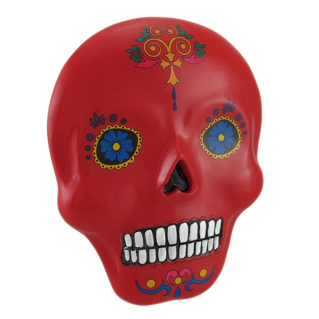 Red And Colorful Day Of The Dead Sugar Skull Wall Wall Sculptures