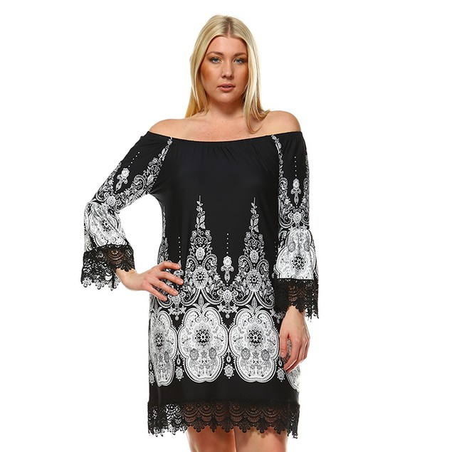 White Mark Universal Plus Size Off the Shoulder Mya Dress - 6 Colors