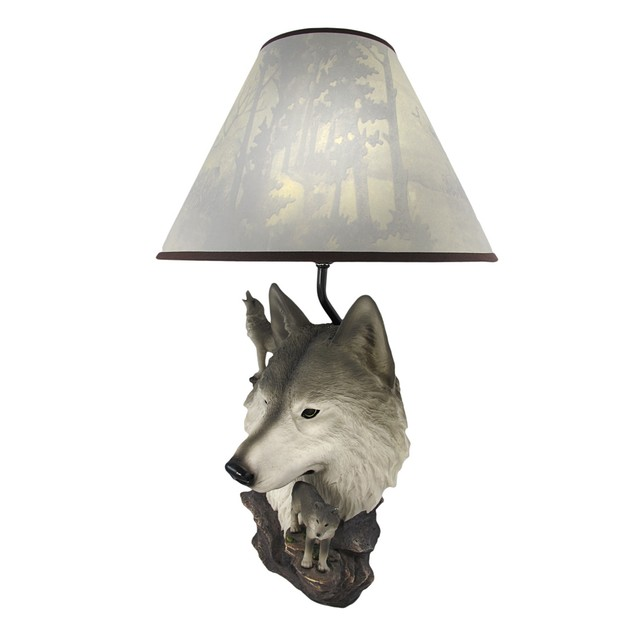 Gray Wolf Bust Table Lamp W/ Nature Print Shade Table Lamps