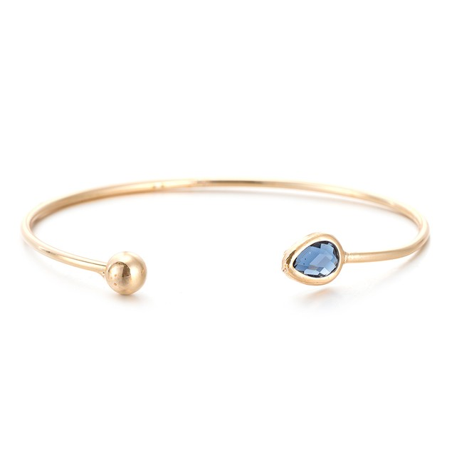 Gold Plated Sapphire Gem Open Ended Bangle