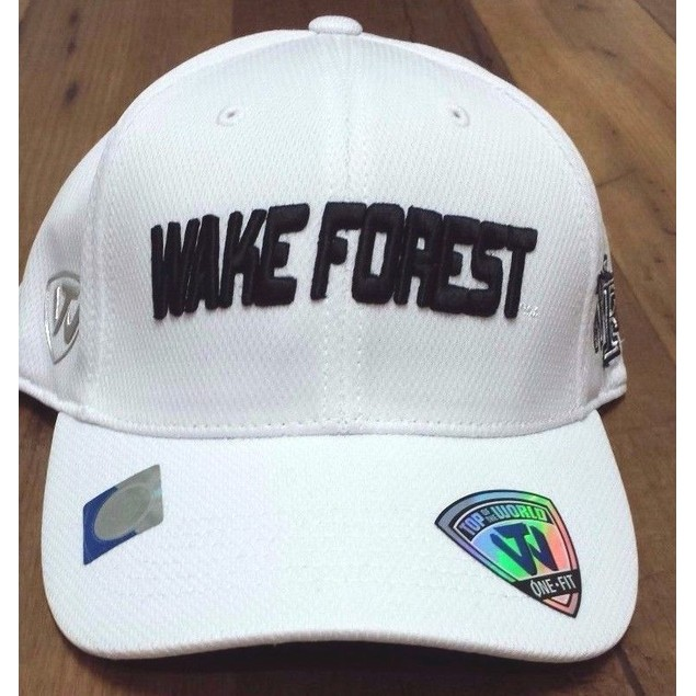 """Wake Forest Demon Deacons NCAA TOW """"Dogleg"""" Stretch Fitted Hat New"""