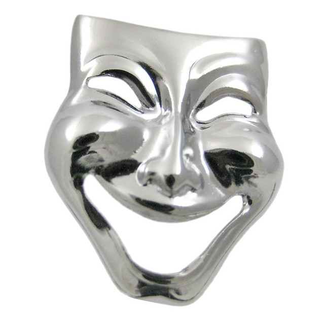 Stainless Steel Comedy / Tragedy Mask Cufflinks Mens Cuff Links