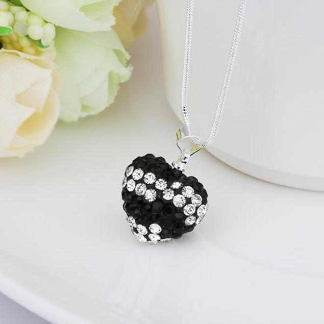Multi-Toned Austrian Stone Heart Shaped Necklace - Vivid Royal Onyx