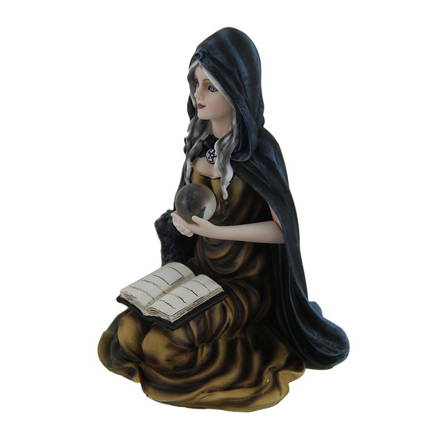 Kneeling Witch Holding Crystal Ball W/Black Cat Statues
