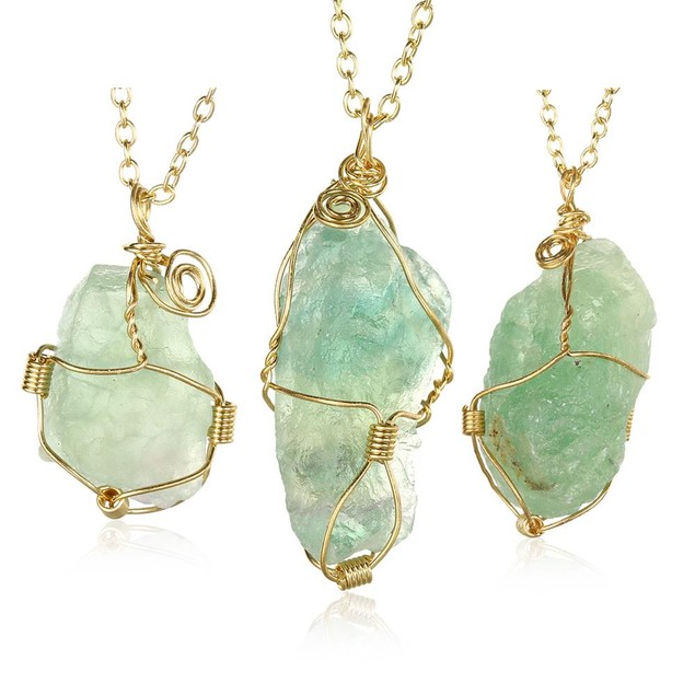 Abstract Green GemChlorophane Stone Necklace