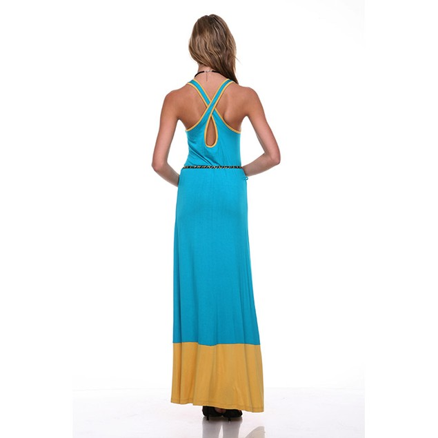 Women's Colorblock Tank Dress with Chain Belt