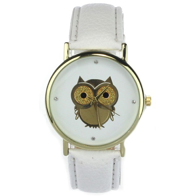Gold Tone Owl Watch on White Strap