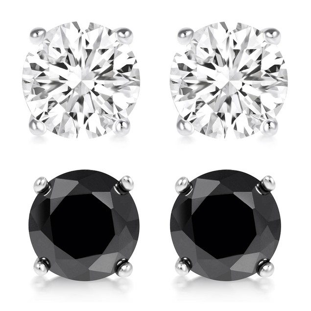 Sterling Silver Black and White Stud Earrings