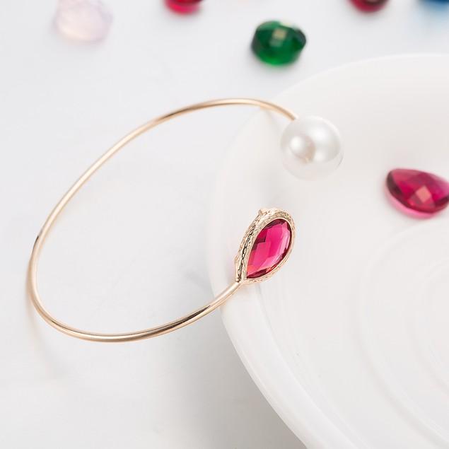 Gold Plated Hectagon Lavender Gem & Pearl Open Ended Bracelet