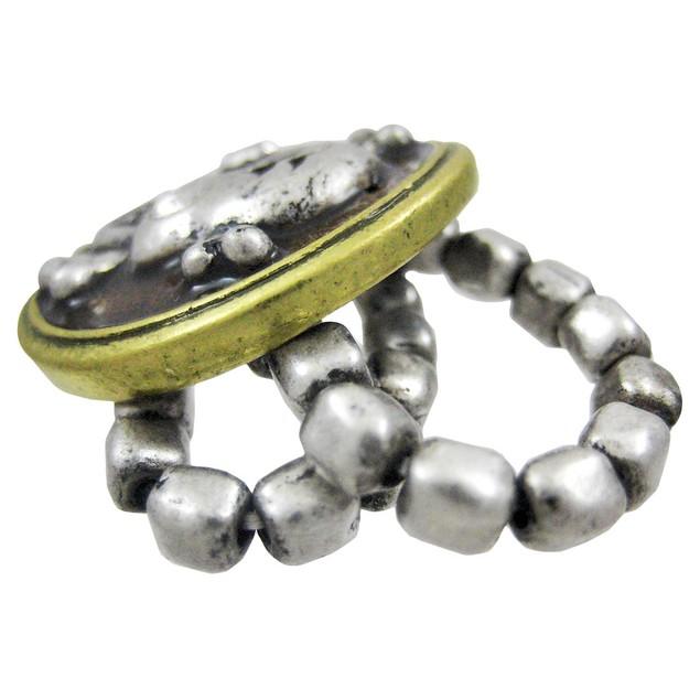 Pewter & Brass Skull & Crossbones Stretch Ring Womens Rings
