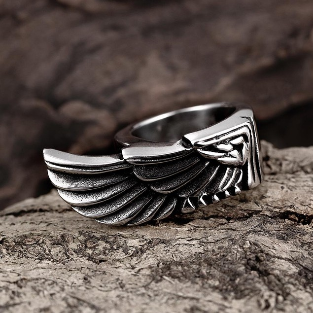 Stainless Steel Eagle's Wing Ring