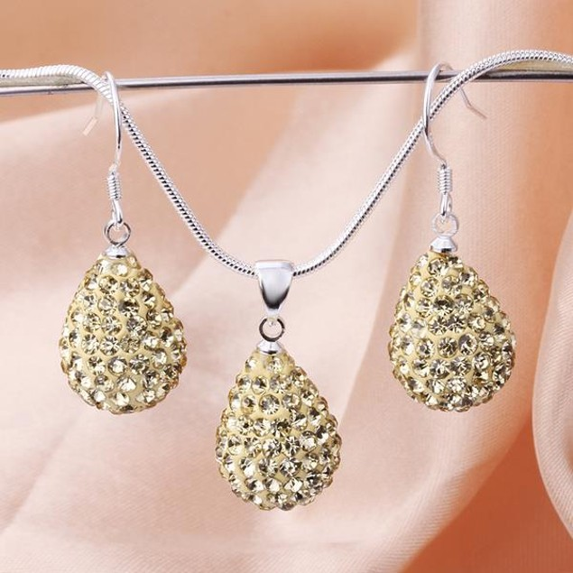 Austrian Stone Solid-Pave Pear Earring and Necklace Set - Beige Crystal