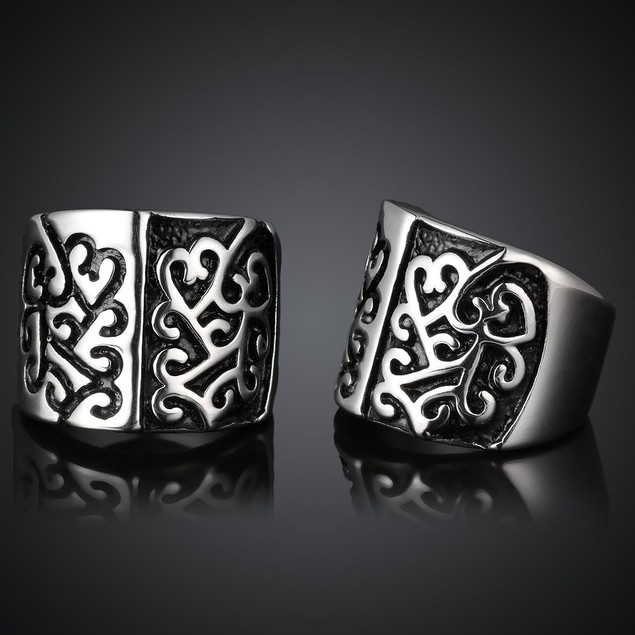 Two Toned Abstract Emblem Stainless Steel Ring