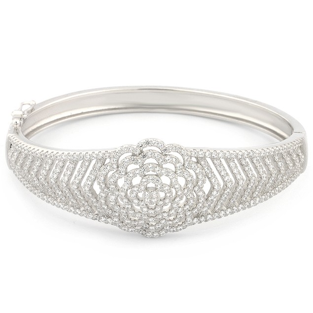 Sterling Silver Micro Pave Flower Design Bangle