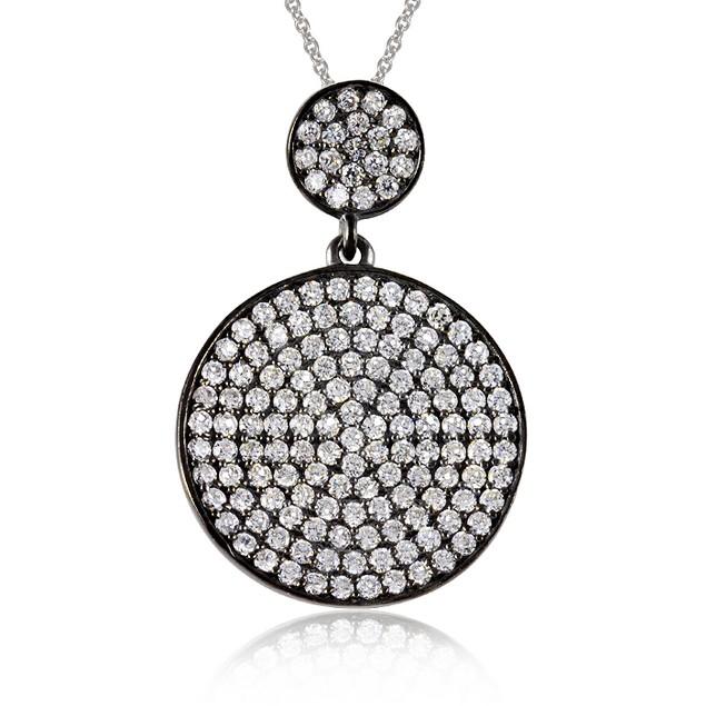 Black IP Plated Imitation Diamond Round Pavé Necklace