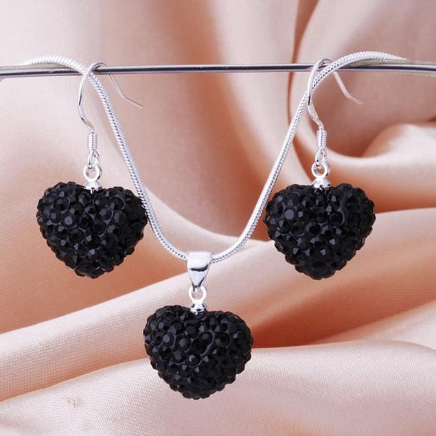 Austrian Stone Solid-Pave Heart Earring and Necklace Set - Solid Black