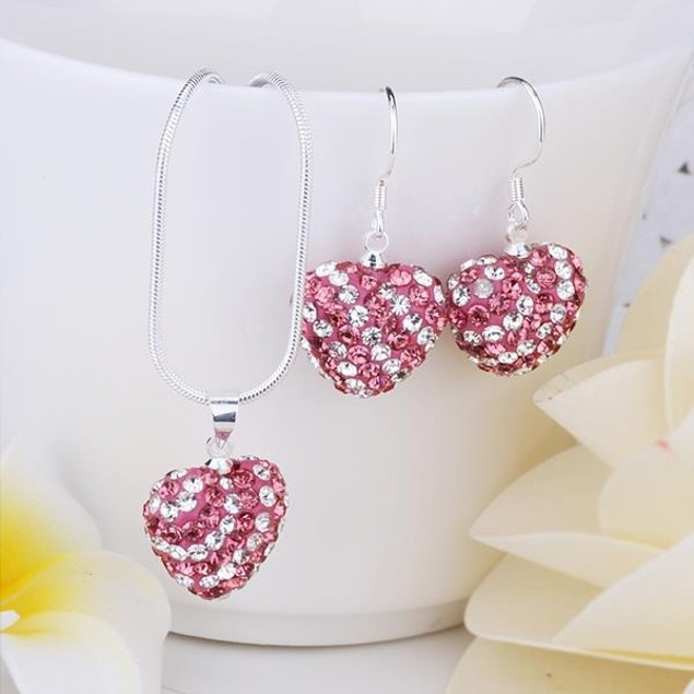 Austrian Stone Multi-Pave Heart Drop Earring and Necklace Set - Pink