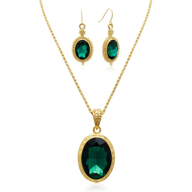 20ct Crystal Emerald Necklace w/ Matching Earrings