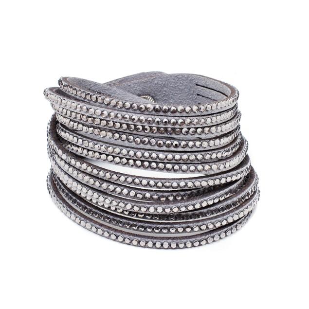 Smokey Grey Crystals Wrap Bracelet