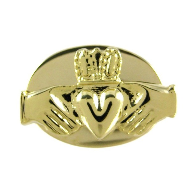Gold Plated Claddagh Cufflinks Irish Mens Cuff Links