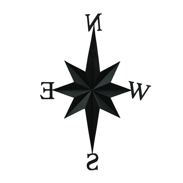 Distressed Finish Black Compass Rose Wall Hanging Wall Sculptures