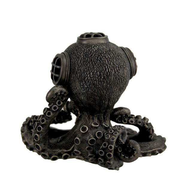 Bronze Finish Steampunk Octopus Diving Bell Clock Desk Clocks