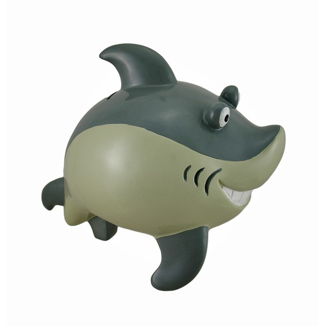 Great White Smiling Shark Jumbo Coin Bank Toy Banks