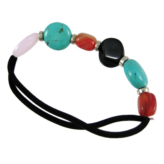 Turquoise And Agate Bead Nylon Stretch Bracelet Womens Bracelets