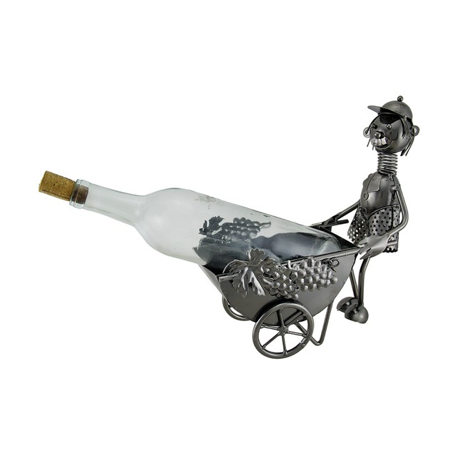 The Wheelbarrow Driver Spring Head Steel Wine Wine Bottle Holders
