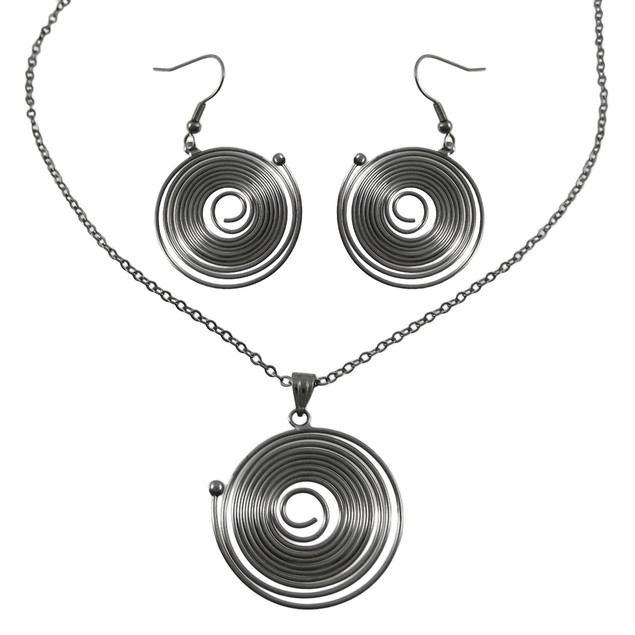 Gunmetal Spiral Wire Circle Necklace / Earrings Womens Earring And Necklace