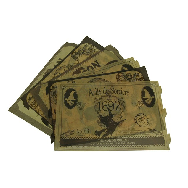 Bethany Lowe Spooky Vintage Apothecary Label 6 Pc. Candle Holder Sets