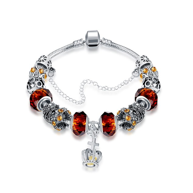 Royal Orange Citrine Crown Jewel Designer Inspired Bracelet