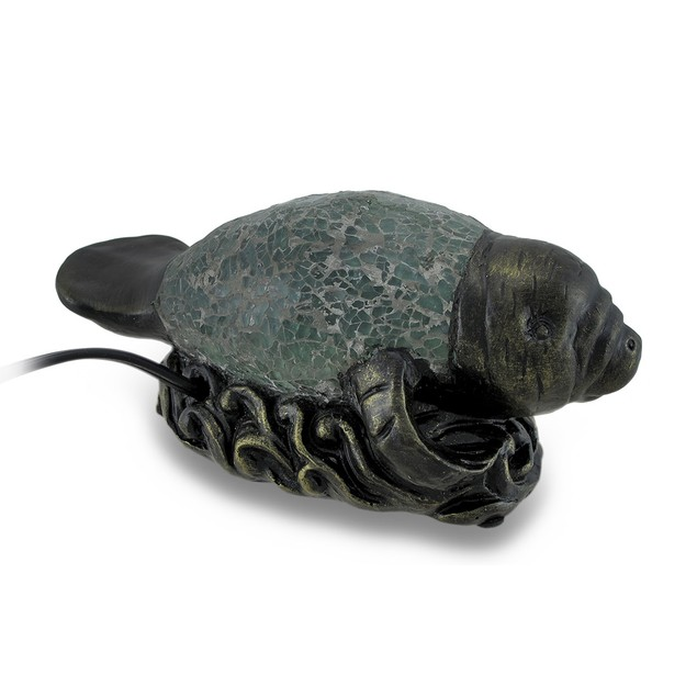 Blue Crackle Glass Manatee Accent Lamp Night Light Accent Lamps