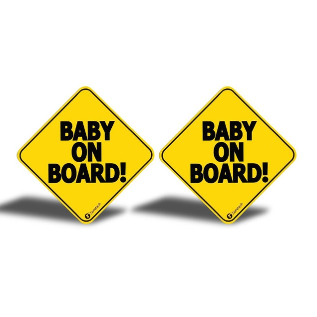 """Zone Tech 2x Reflective Baby on Board Car Decal Magnet Sign 5x5"""""""