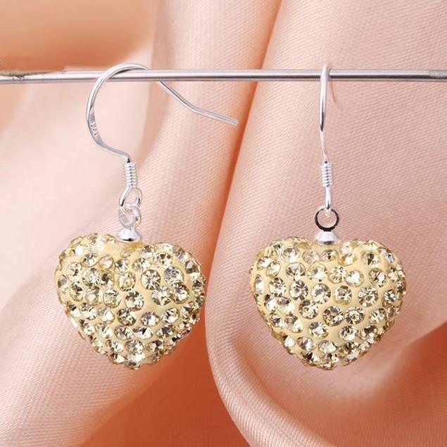 Heart Shaped Solid Austrian Stone Drop Earrings - Light Yellow Citrine