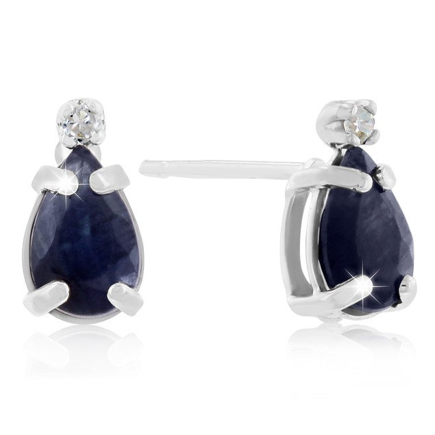 14k White Gold 1.25cttw Pear Sapphire and Diamond Earrings