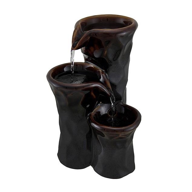 3 Tier Ceramic Vase Bronze Finish Tabletop Tabletop Fountains