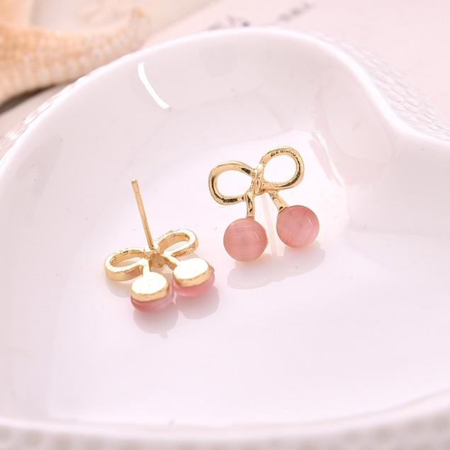 Gold Tone Cherry Shaped Earrings