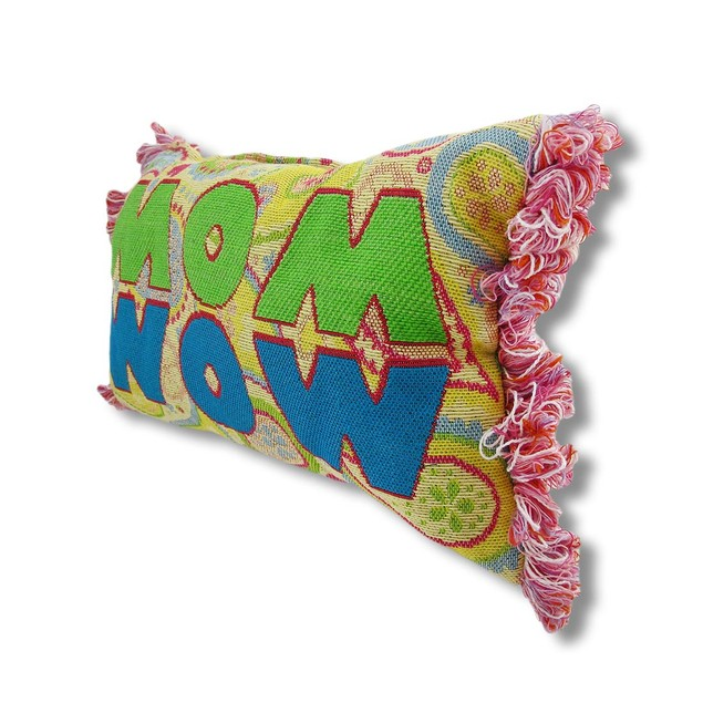 Yellow Paisley Woven Tapestry `Mom/Wow` Accent Throw Pillows