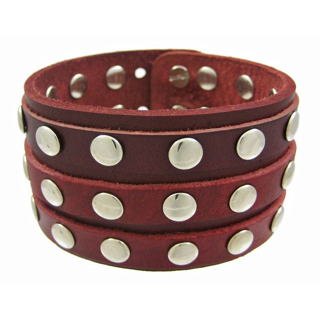 Brown Leather 3 Row Metal Studs Wristband Wrist Mens Leather Bracelets