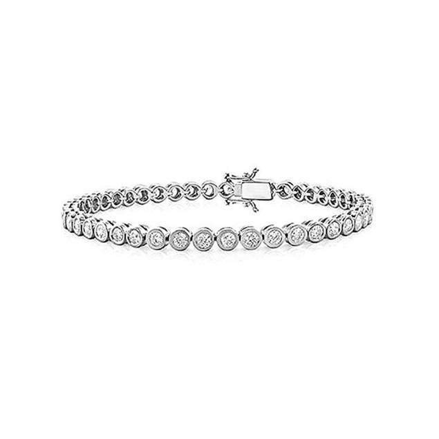 4.2 CTW Bridal Tennis Bracelet Bezel Set Round CZ Sterling Silver