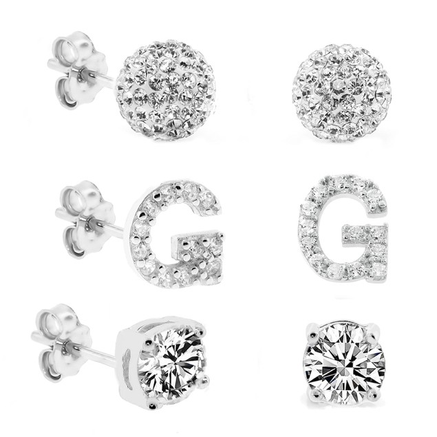3-Piece Set: Initial Stud Earrings with Swarovski Elements - G
